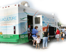 visitors tour mobile classroom